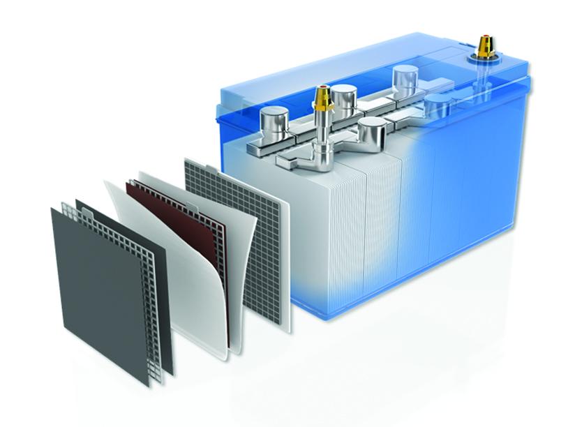 vue intérieur en éclaté d'une batterie